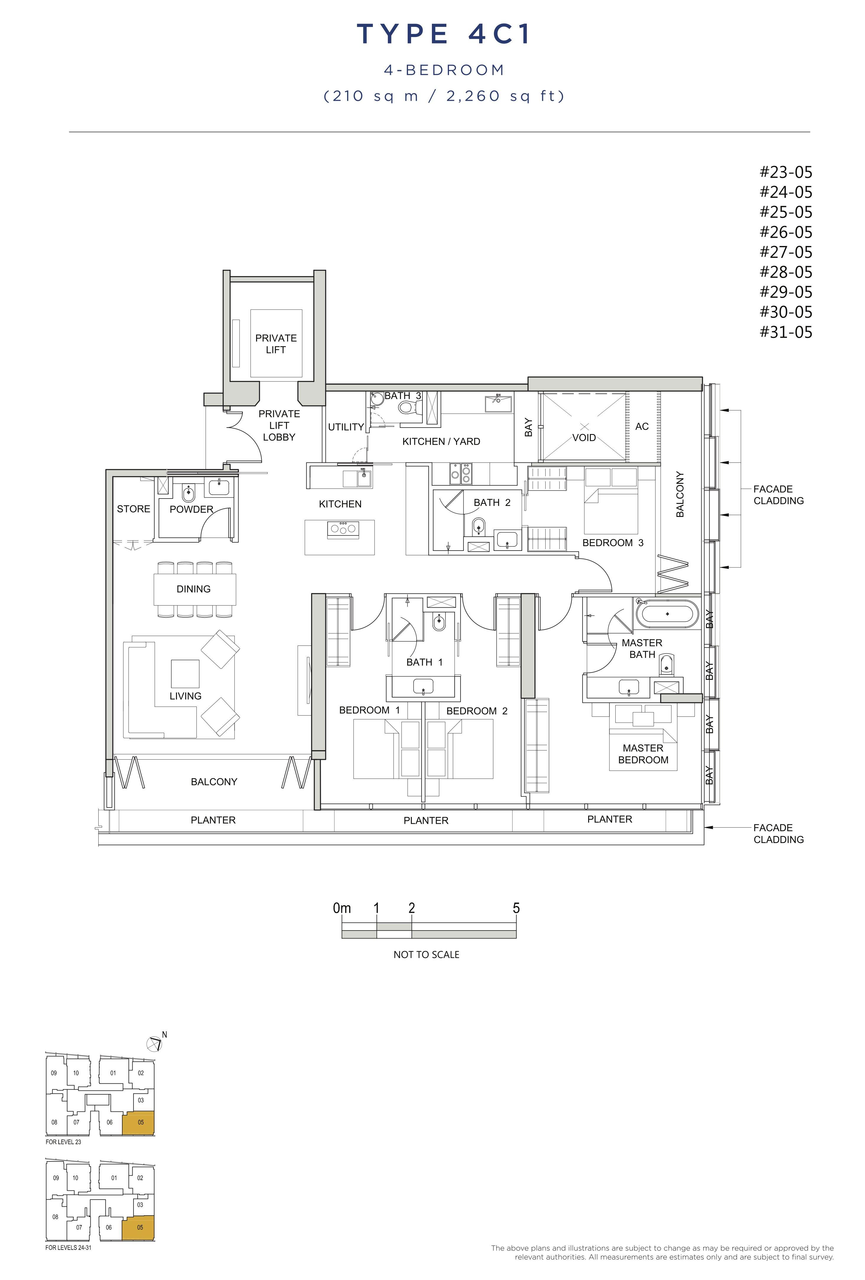风华南岸府-South Beach Residences 公寓4 bedroom floor plan 4C1 4卧房单位户型图