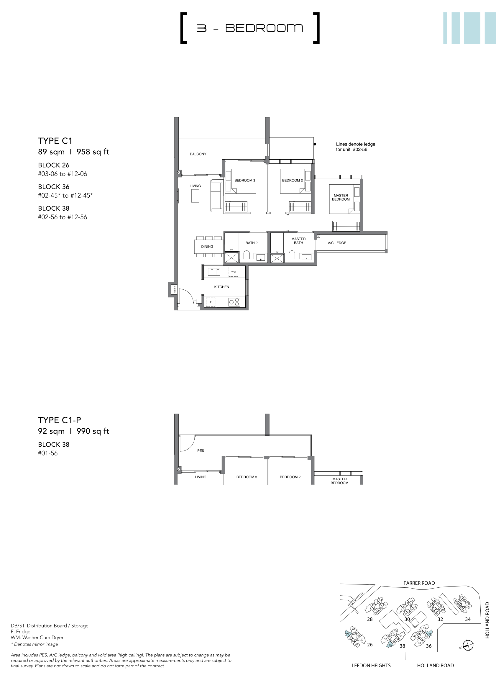 绿墩雅苑公寓户型图 Leedon Green floor plan 3 bedroom c1