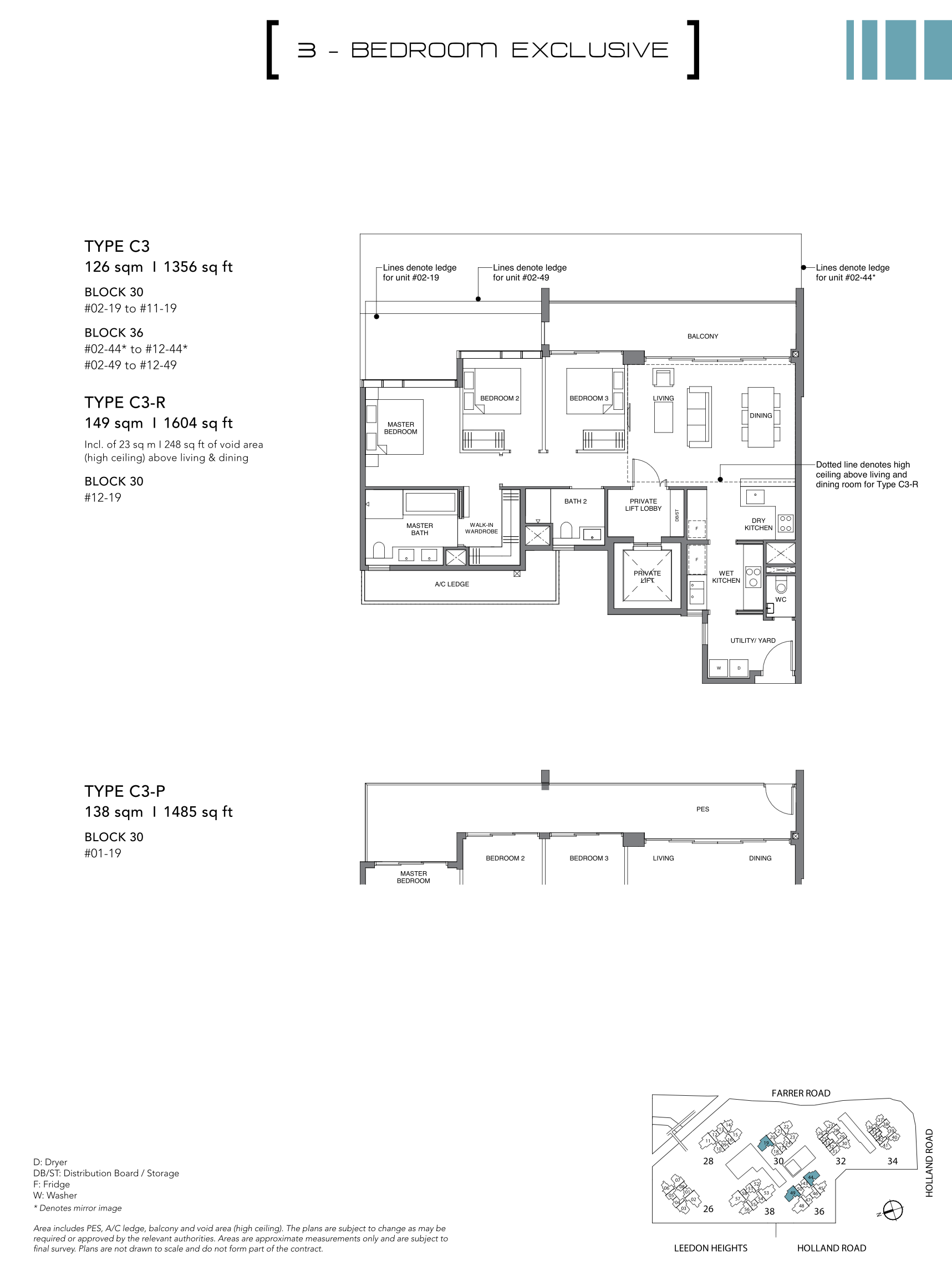 绿墩雅苑公寓户型图 Leedon Green floor plan 3 bedroom exclusive c3