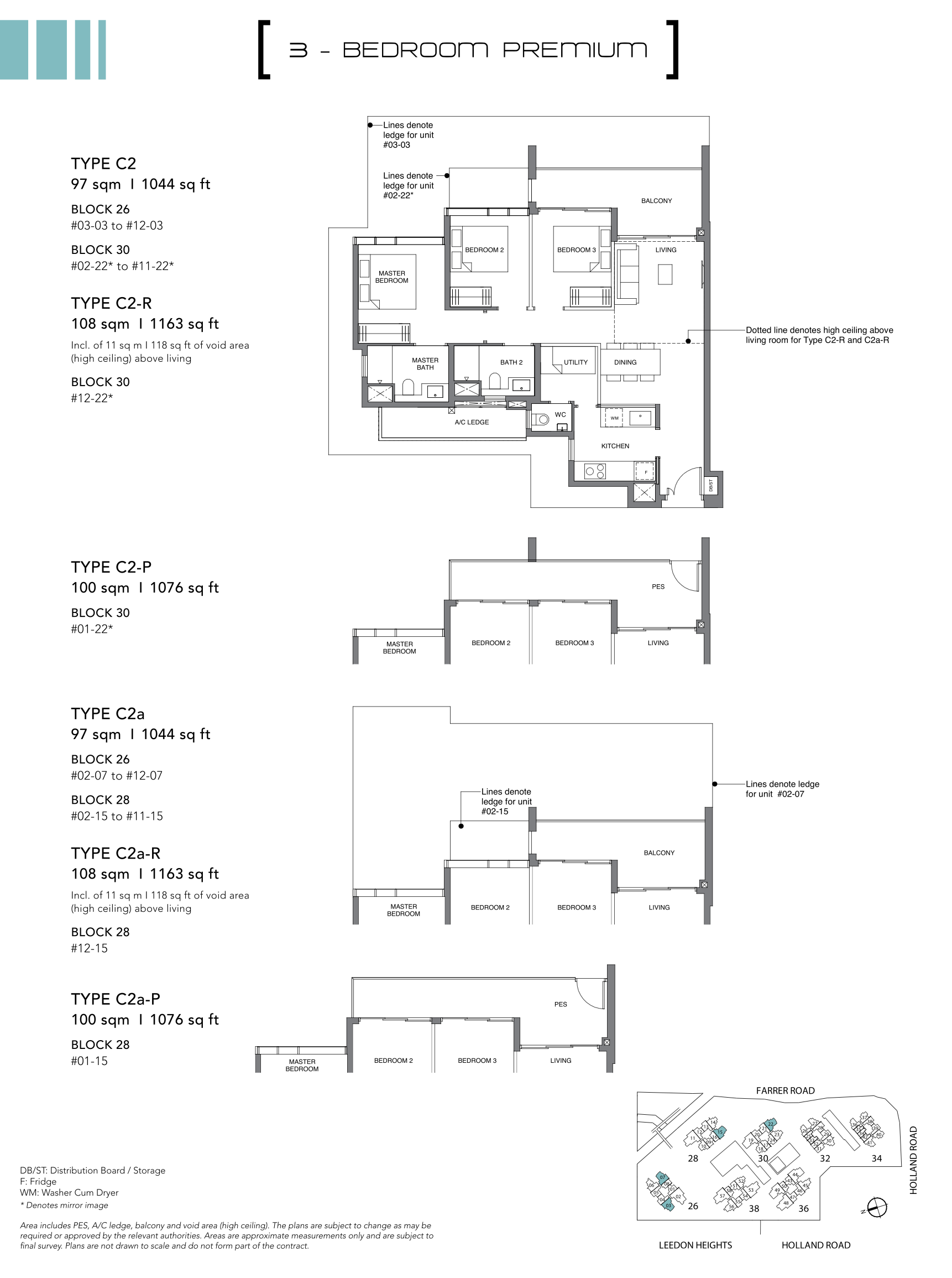 绿墩雅苑公寓户型图 Leedon Green floor plan 3 bedroom premium c2