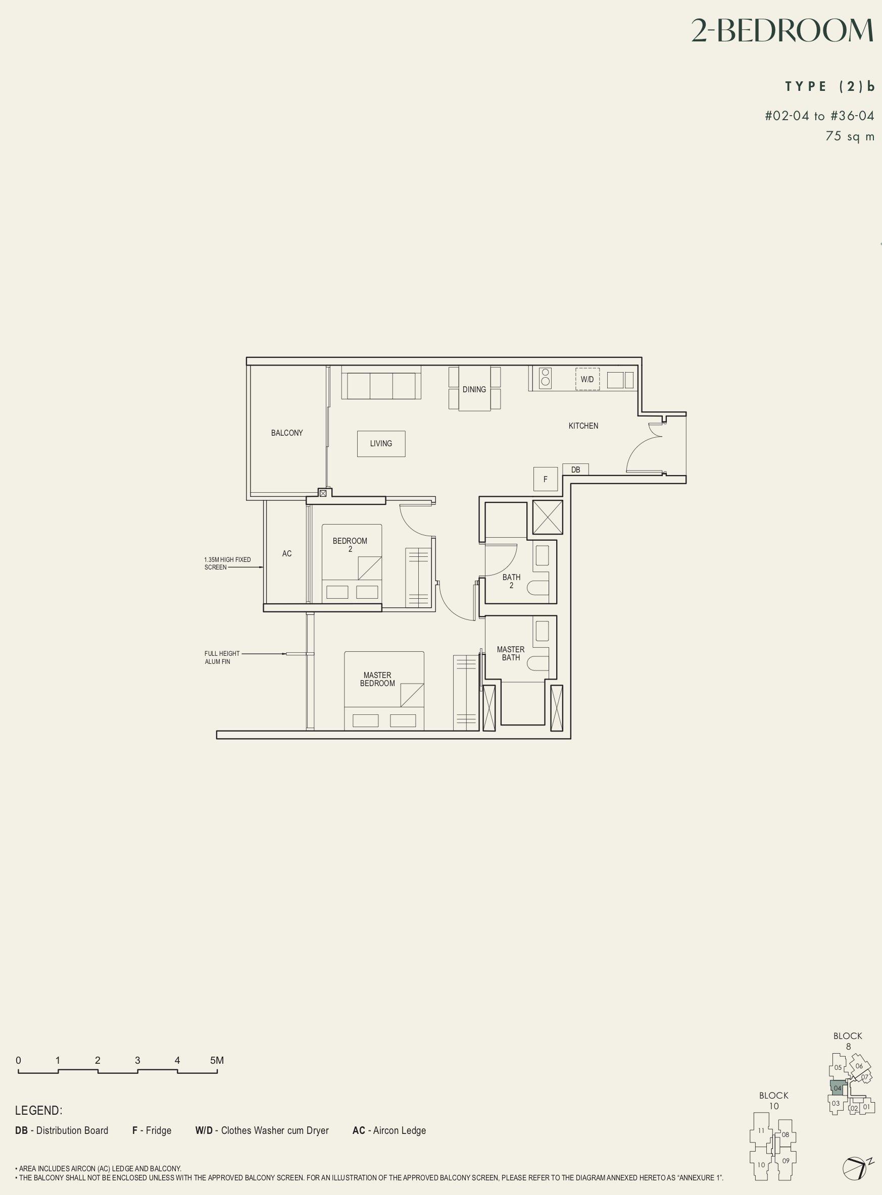 The Avenir 2 bedroom 2b floor plan