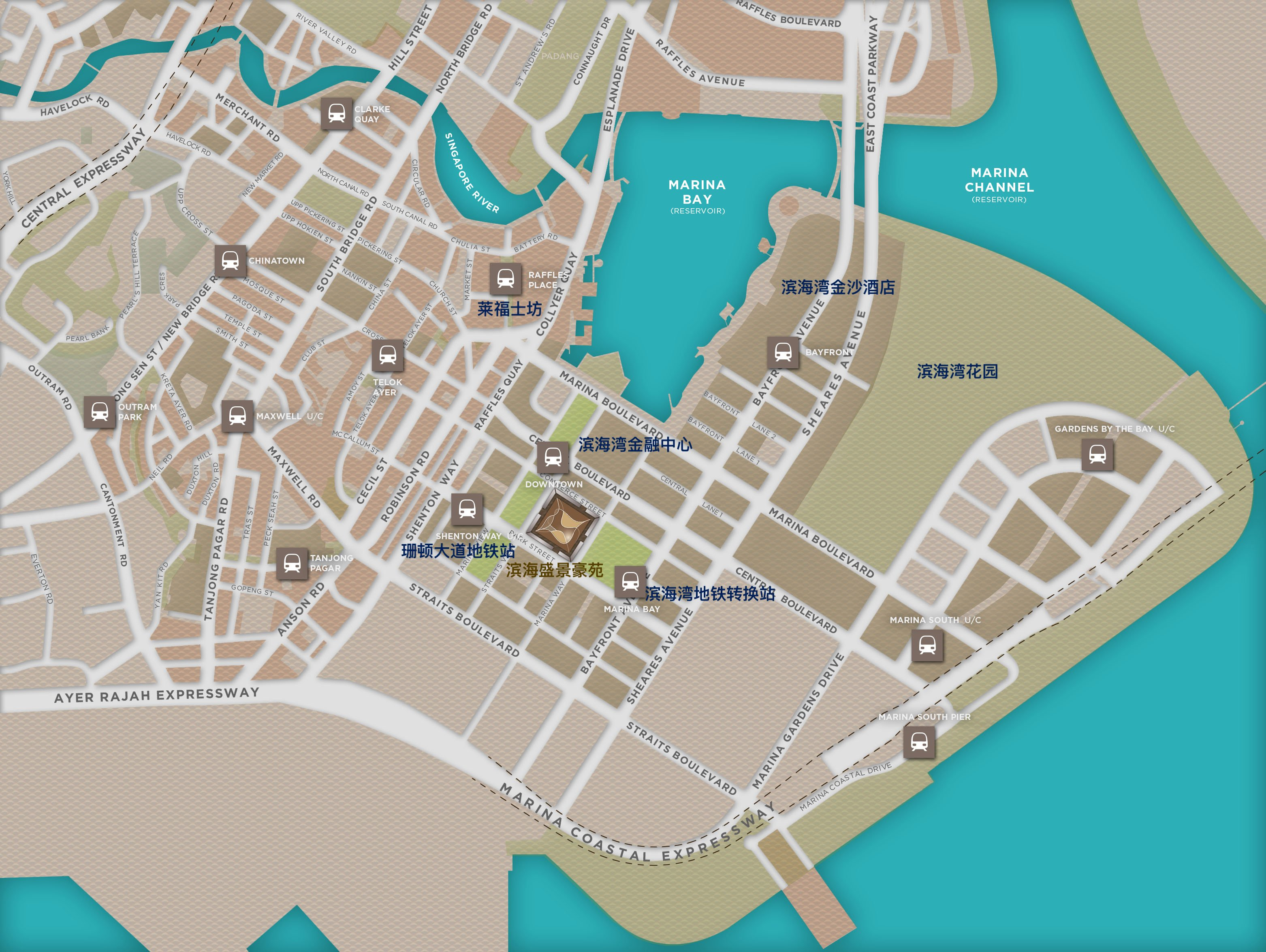 滨海盛景豪苑地段地图 marina one residences location map