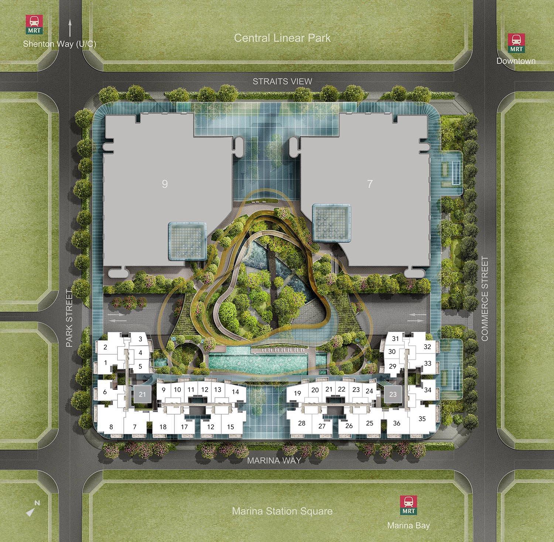 滨海盛景豪苑旁平面设计图 marina one residences site plan
