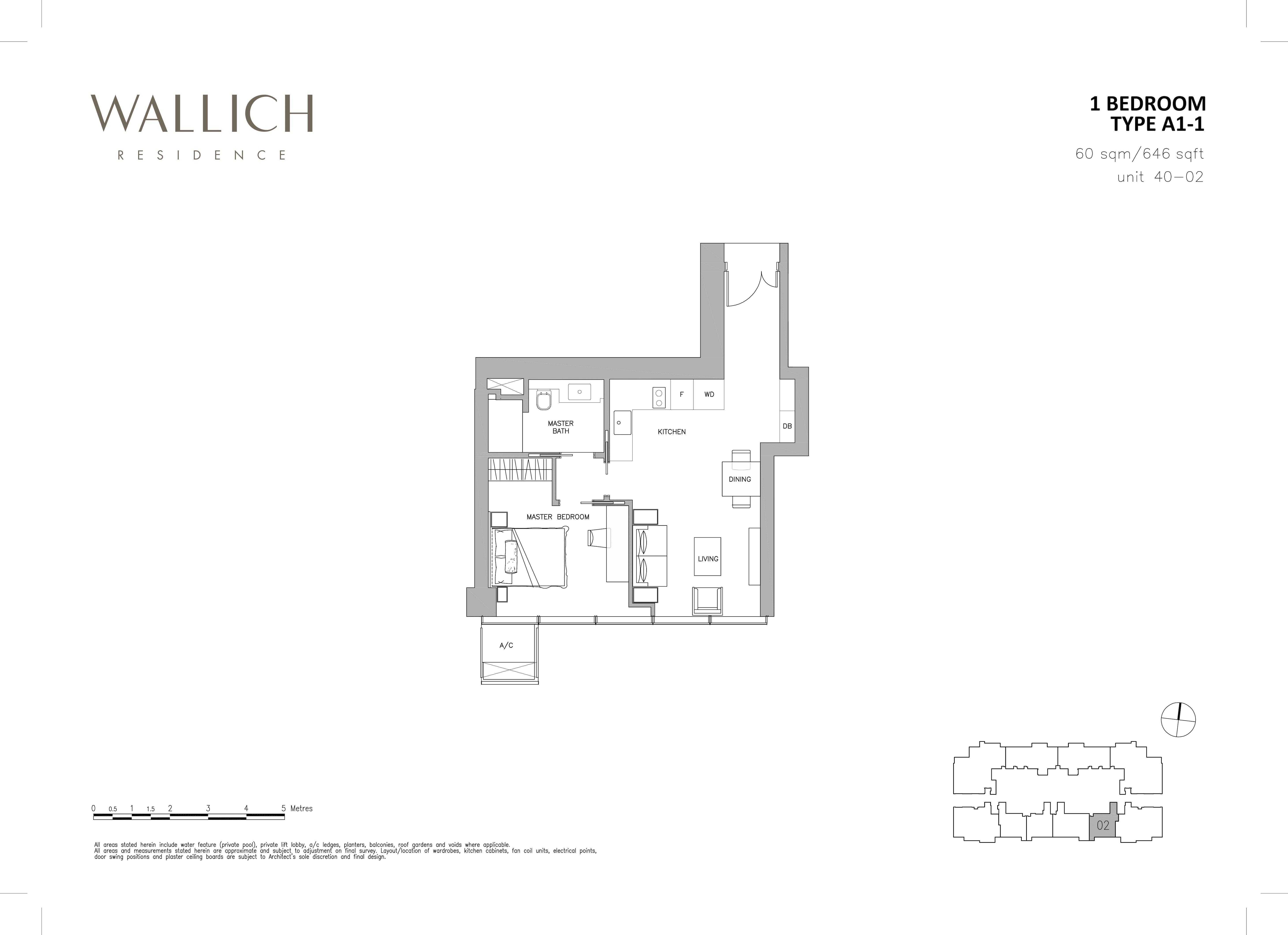 华利世家 wallich residence 1-Bedroom floor plan edit