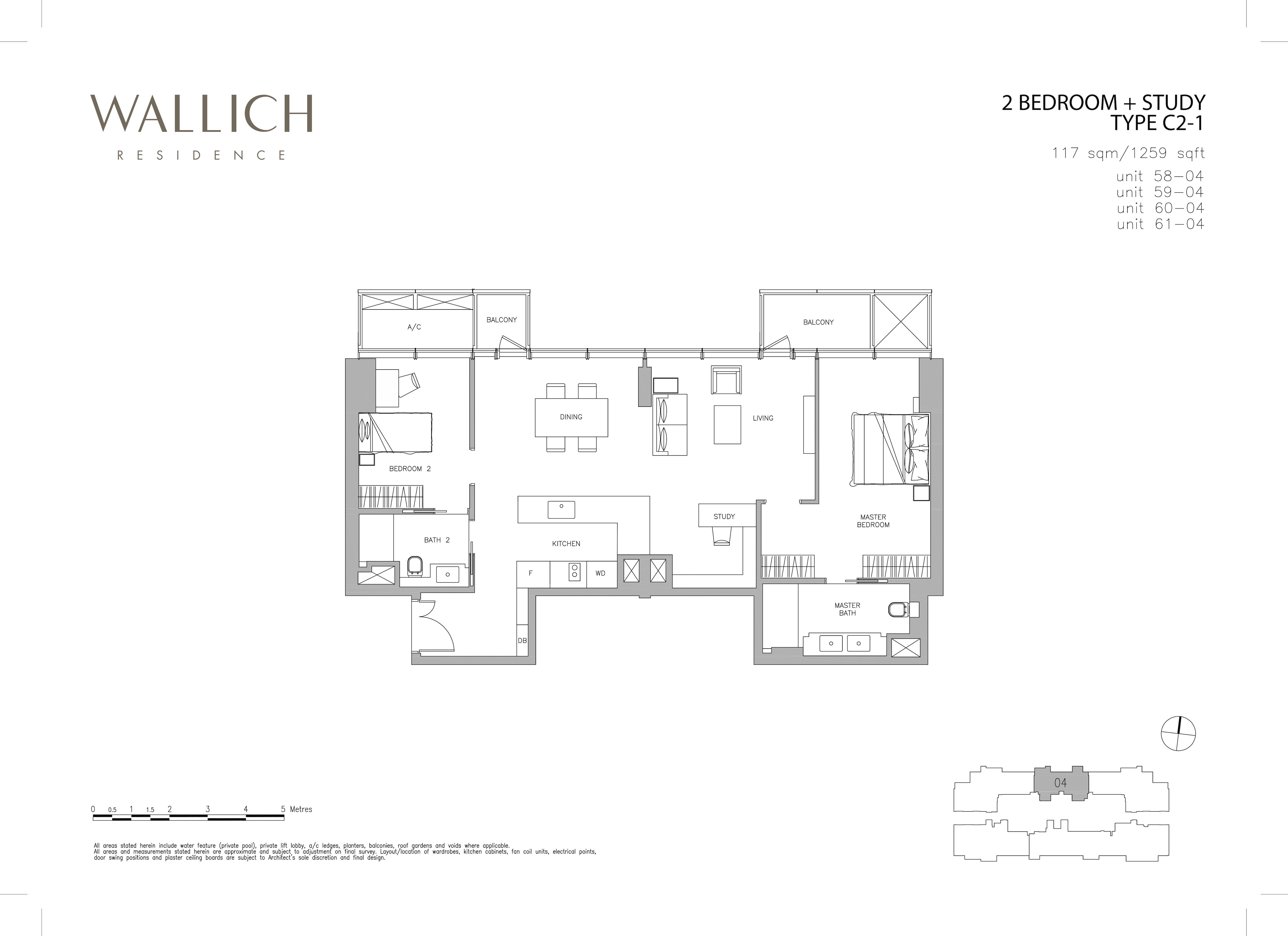 华利世家 wallich residence 2-Bedroom Study floor plan edit