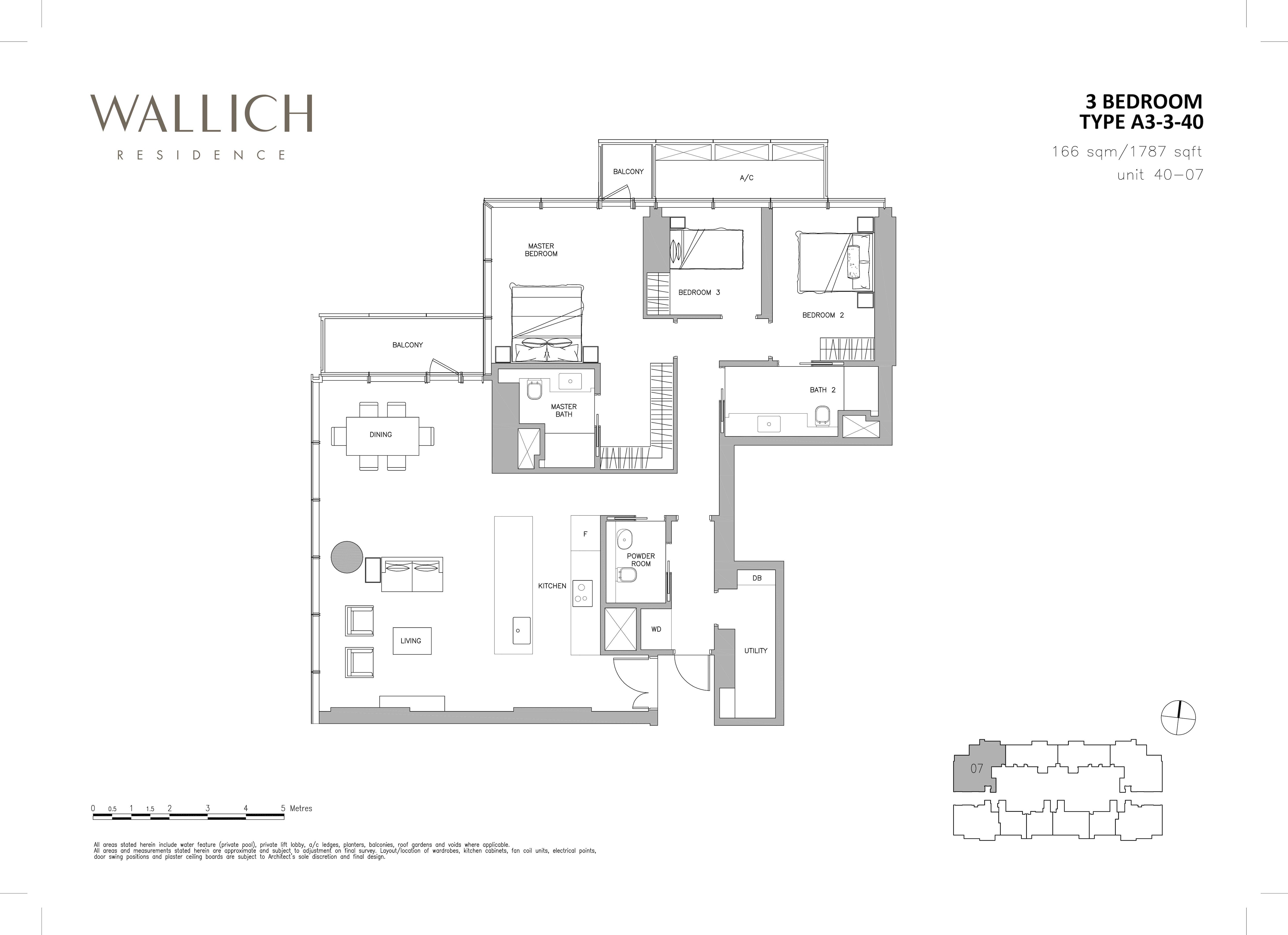 华利世家 wallich residence 3-Bedroom floor plan edit