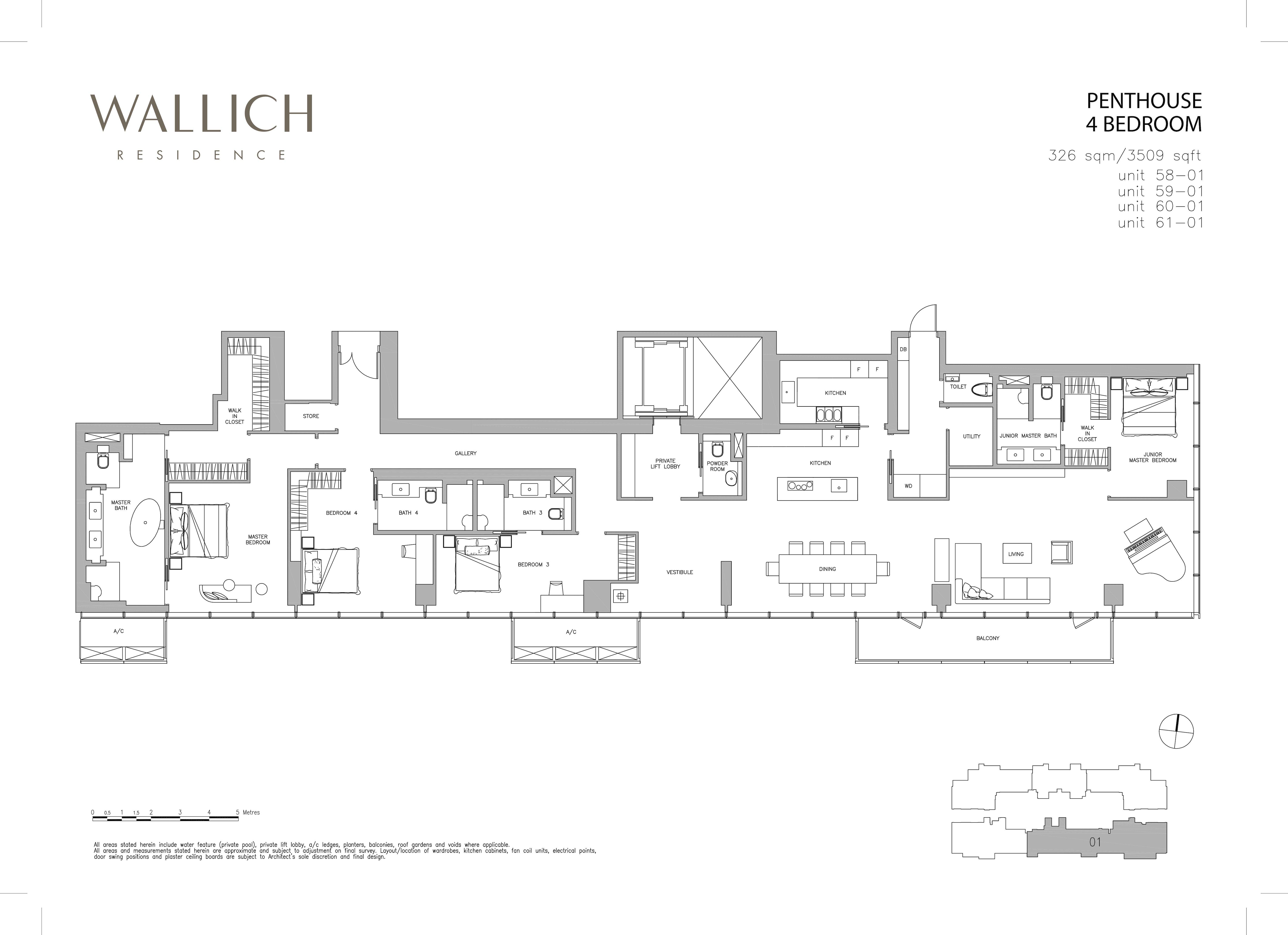 华利世家 wallich residence 4-Bedroom Penthouse floor plan edit