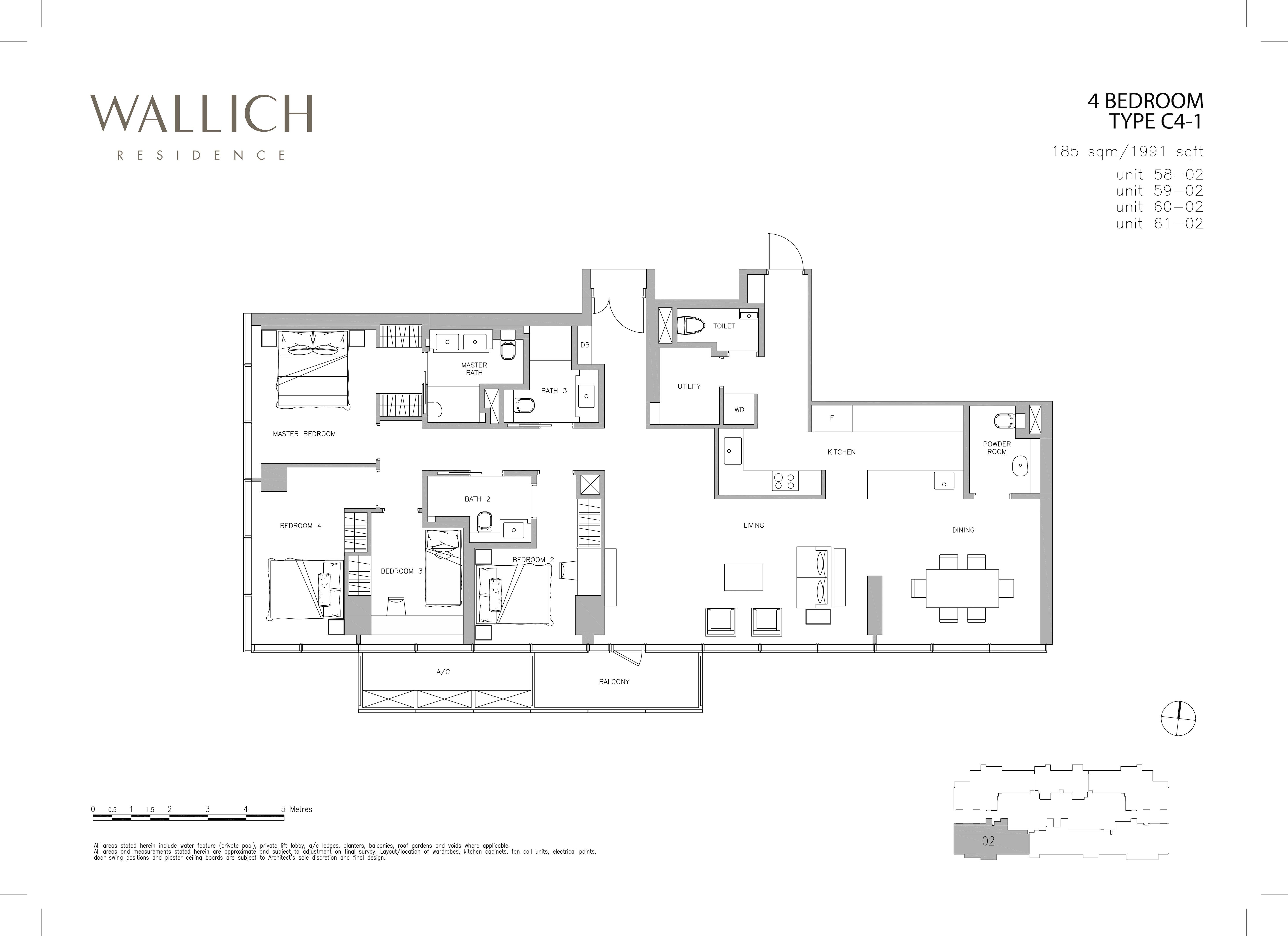 华利世家 wallich residence 4-Bedroom floor plan edit