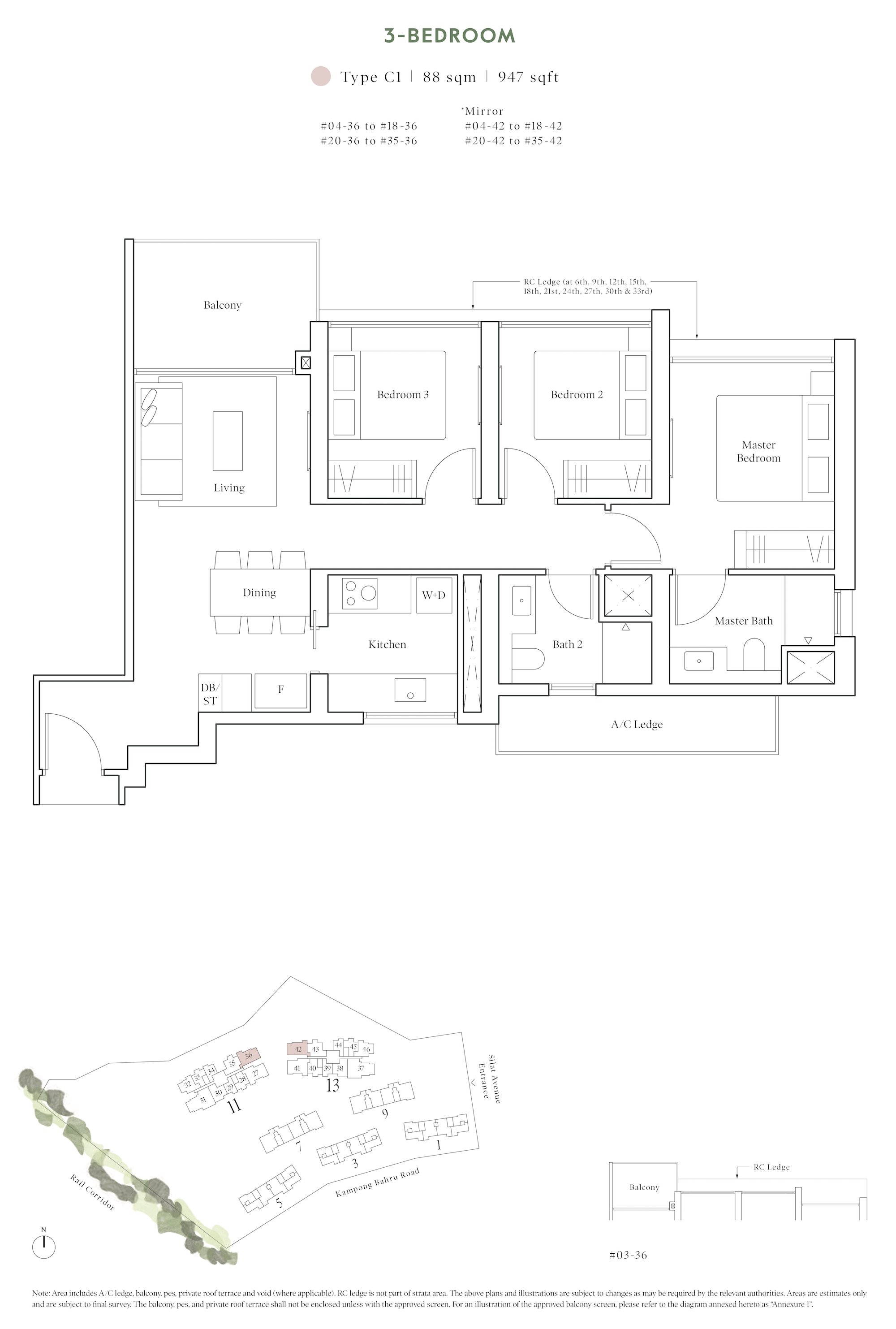 Avenue South Residence 南峰雅苑 horizon floor plan 3-bedroom c1