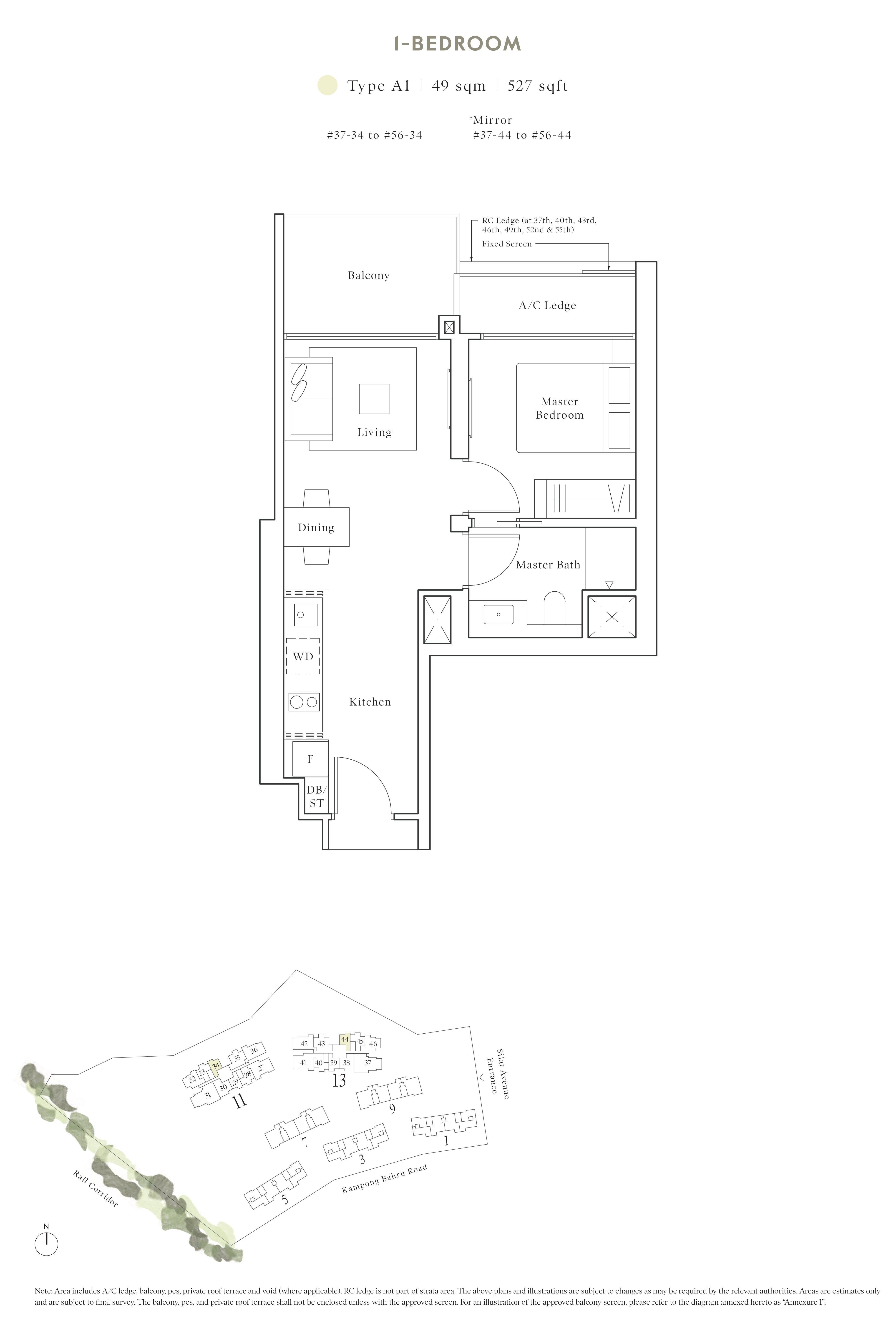 Avenue South Residence 南峰雅苑 peak floor plan 1-bedroom a1