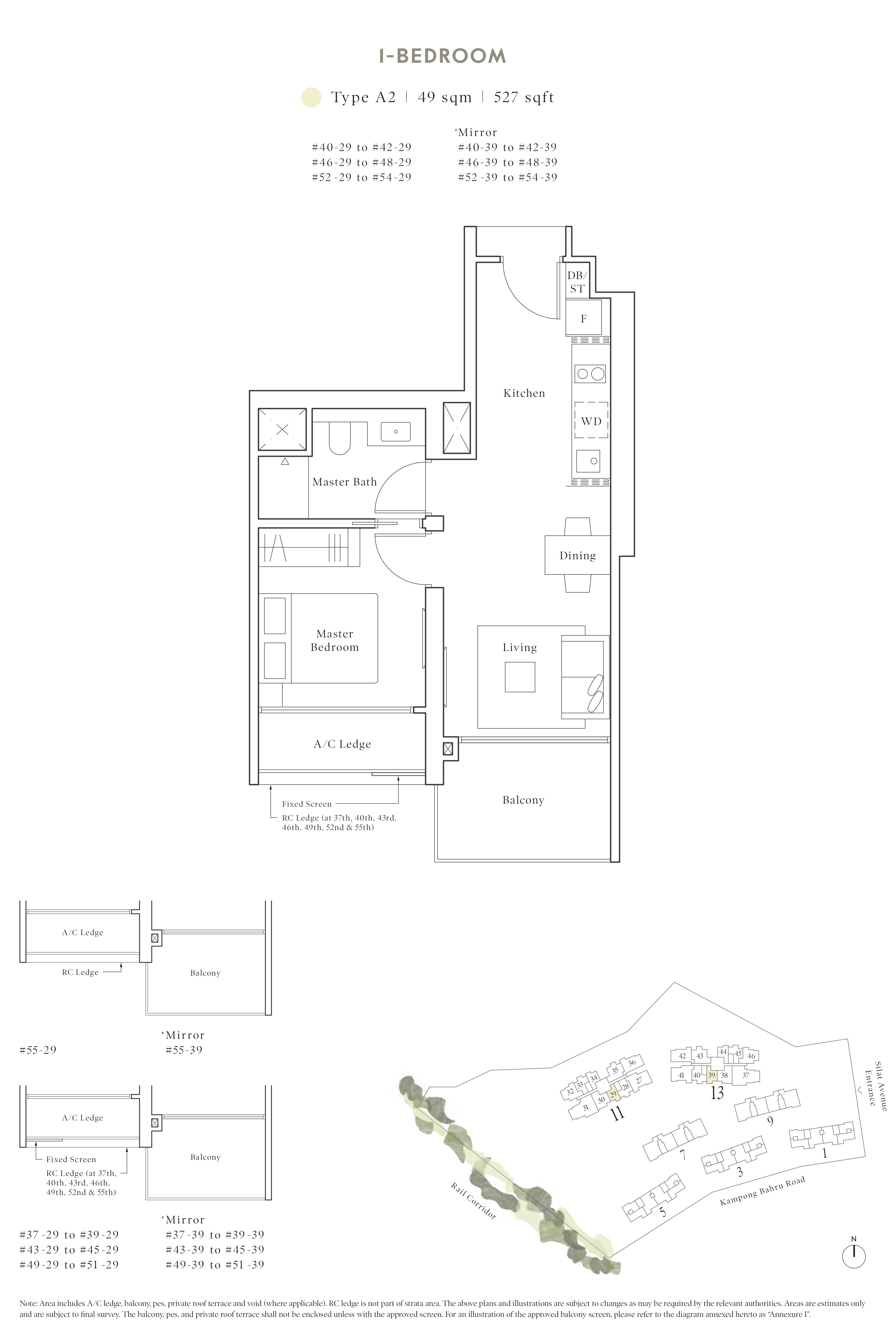 Avenue South Residence 南峰雅苑 peak floor plan 1-bedroom a2