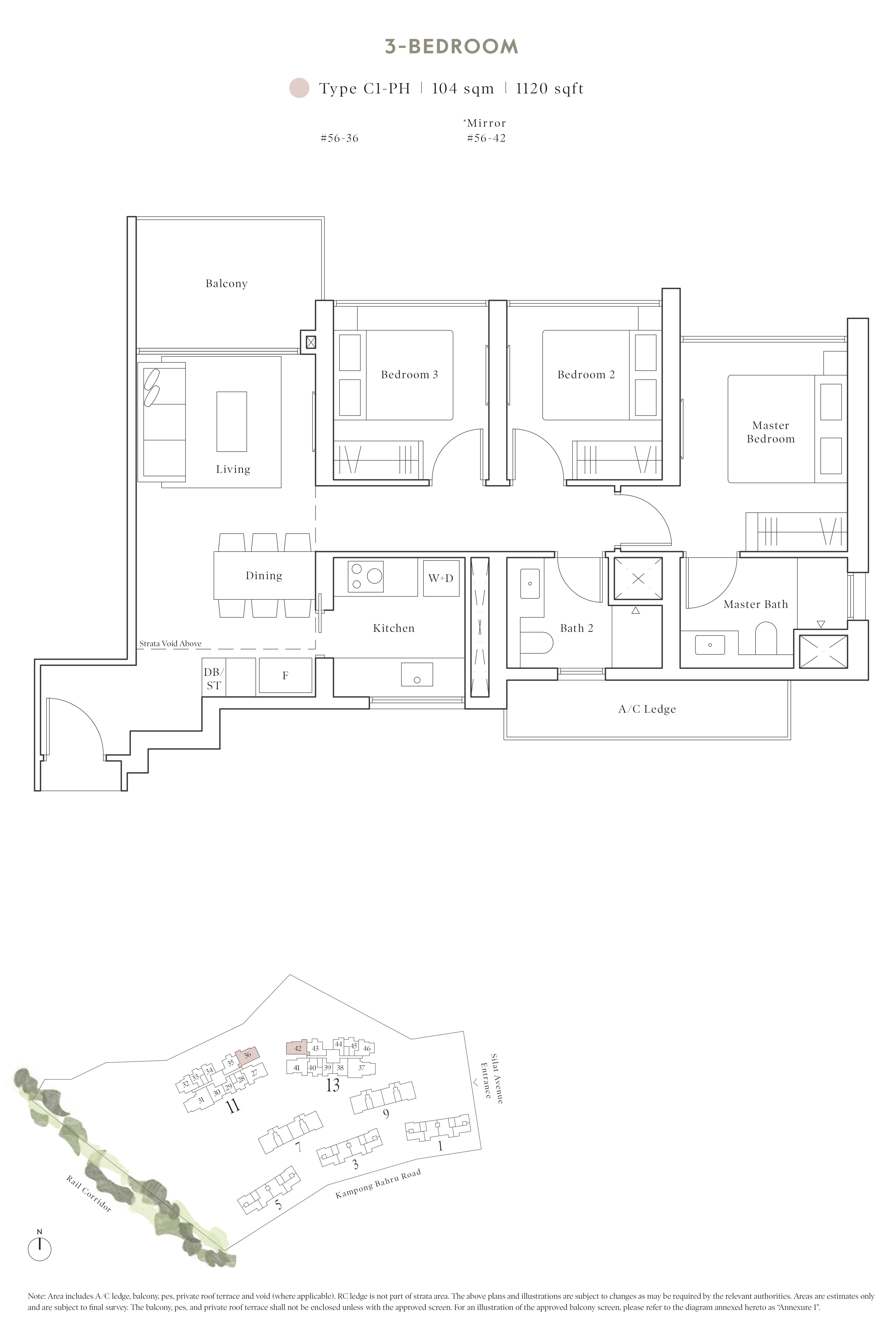 Avenue South Residence 南峰雅苑 peak floor plan 3-bedroom penthouse c1-ph