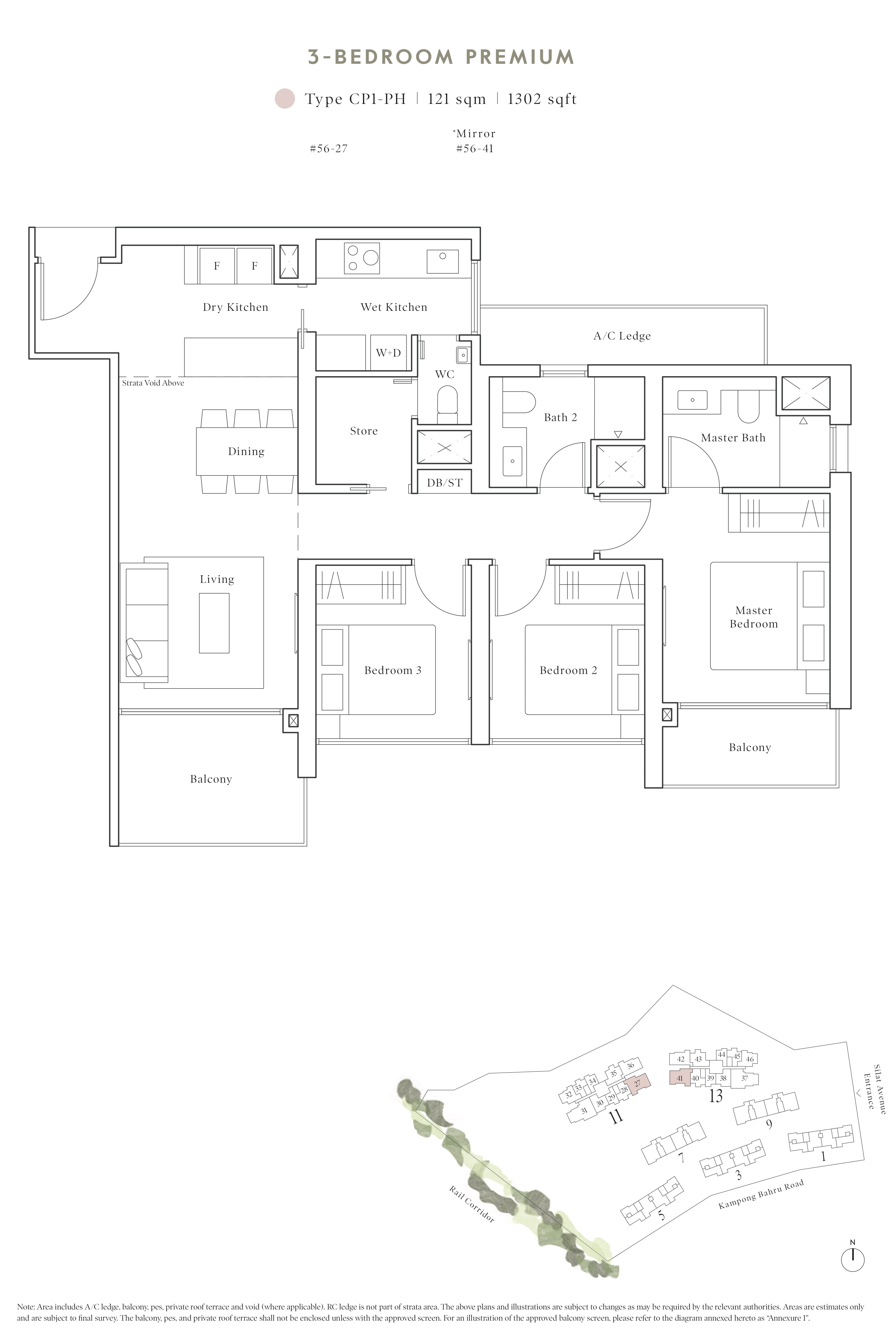Avenue South Residence 南峰雅苑 peak floor plan 3-bedroom penthouse cp1-ph