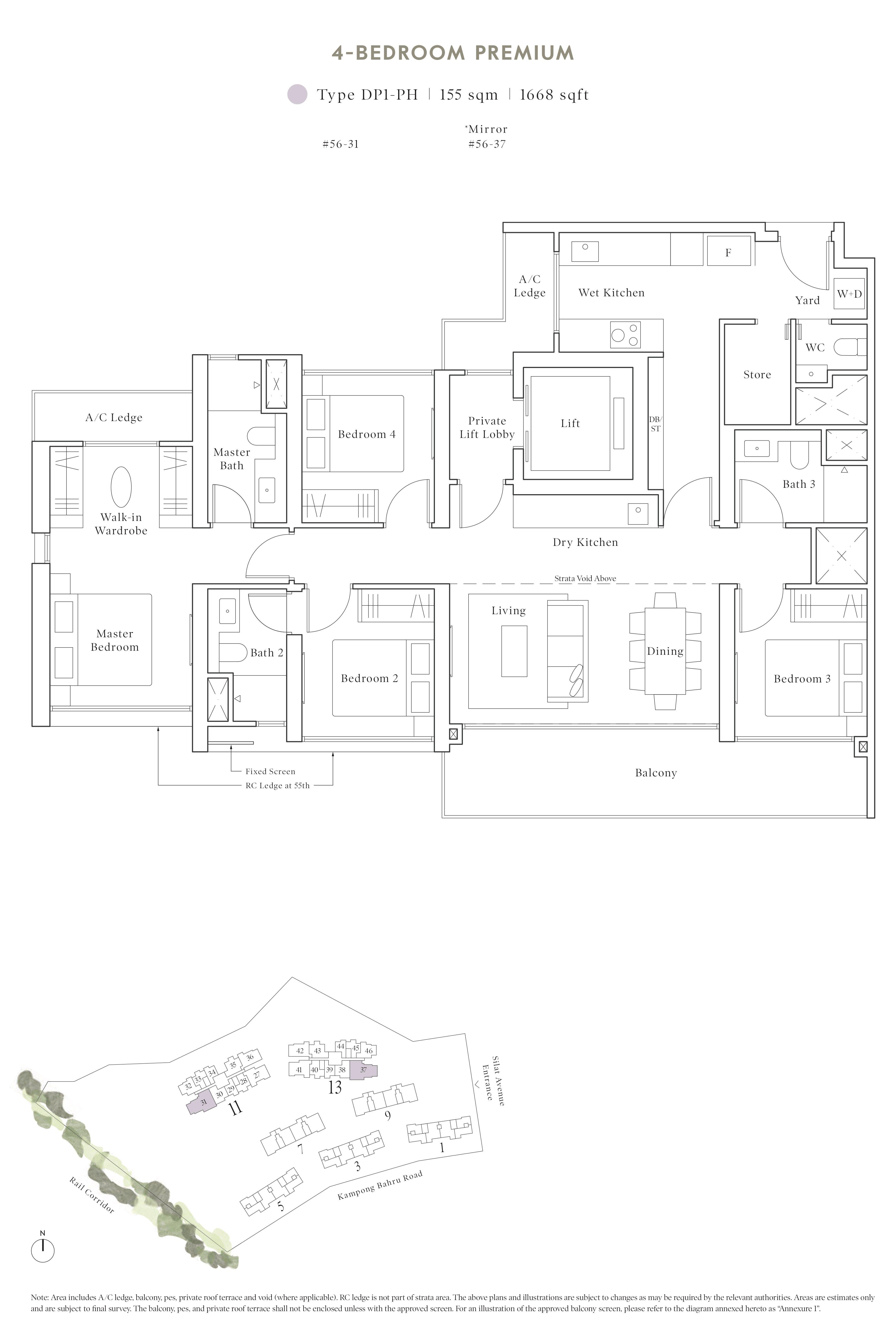 Avenue South Residence 南峰雅苑 peak floor plan 3-bedroom penthouse dp1-ph