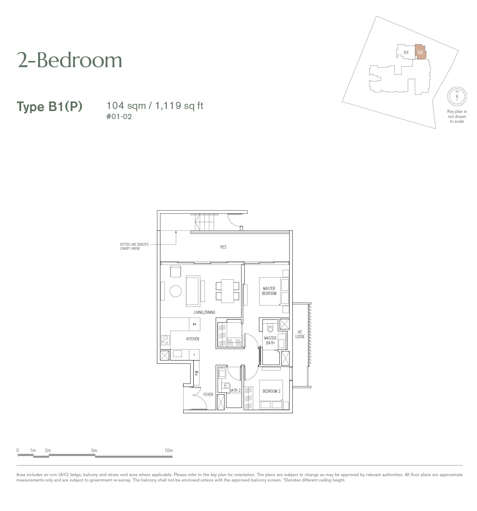 19 Nassim 纳森山公寓 floor plan 2-bedroom-B1P