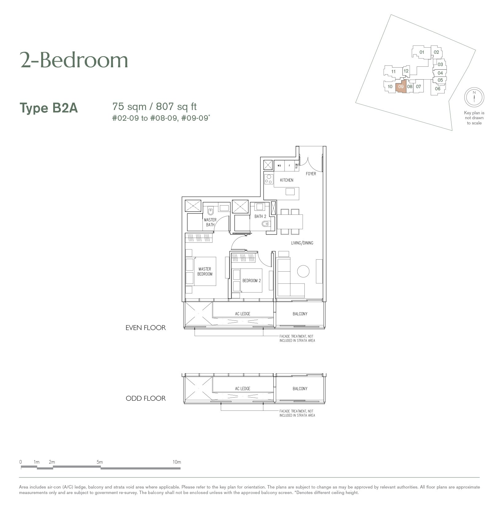 19 Nassim 纳森山公寓 floor plan 2-bedroom-B2A