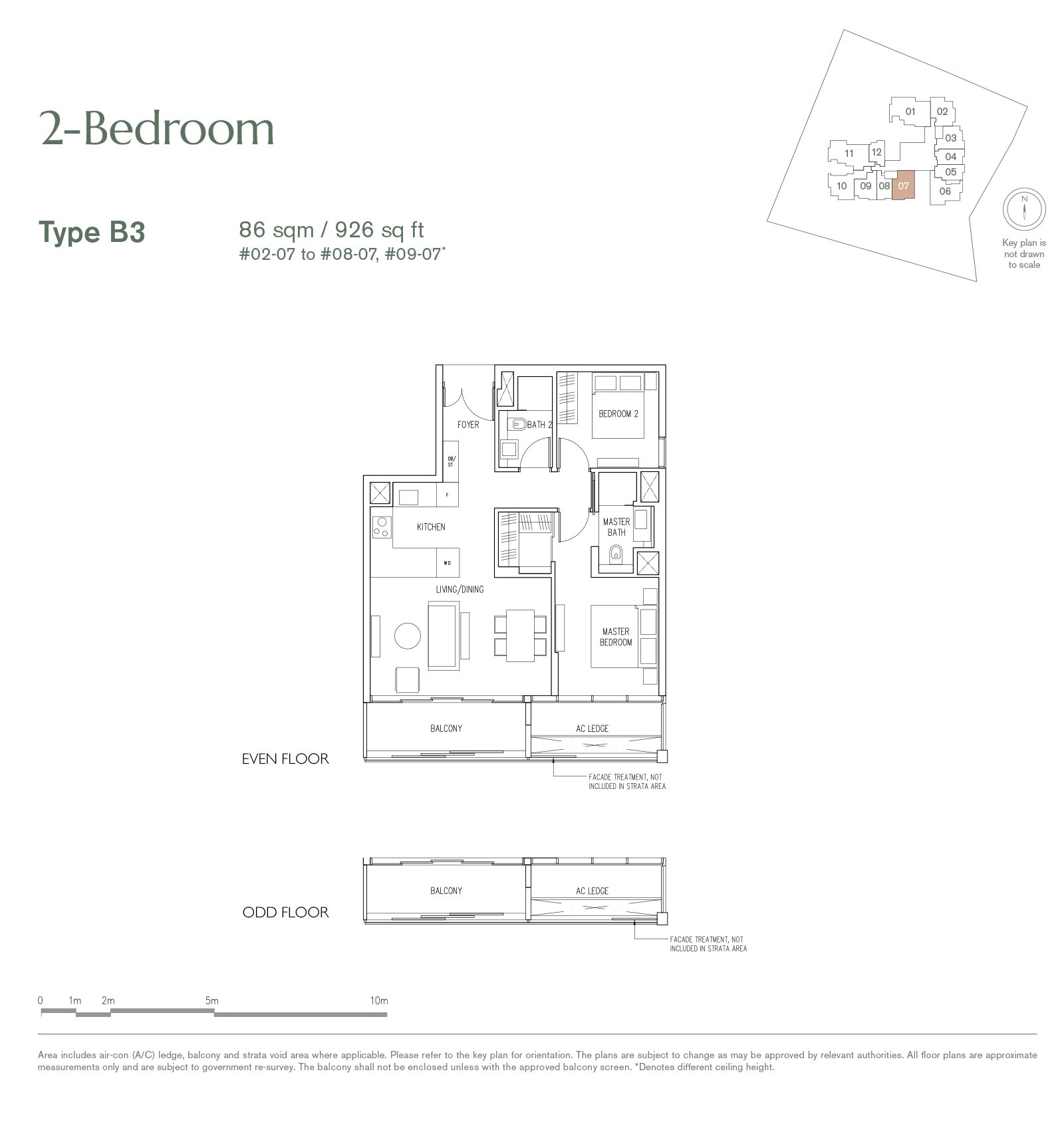19 Nassim 纳森山公寓 floor plan 2-bedroom-B3