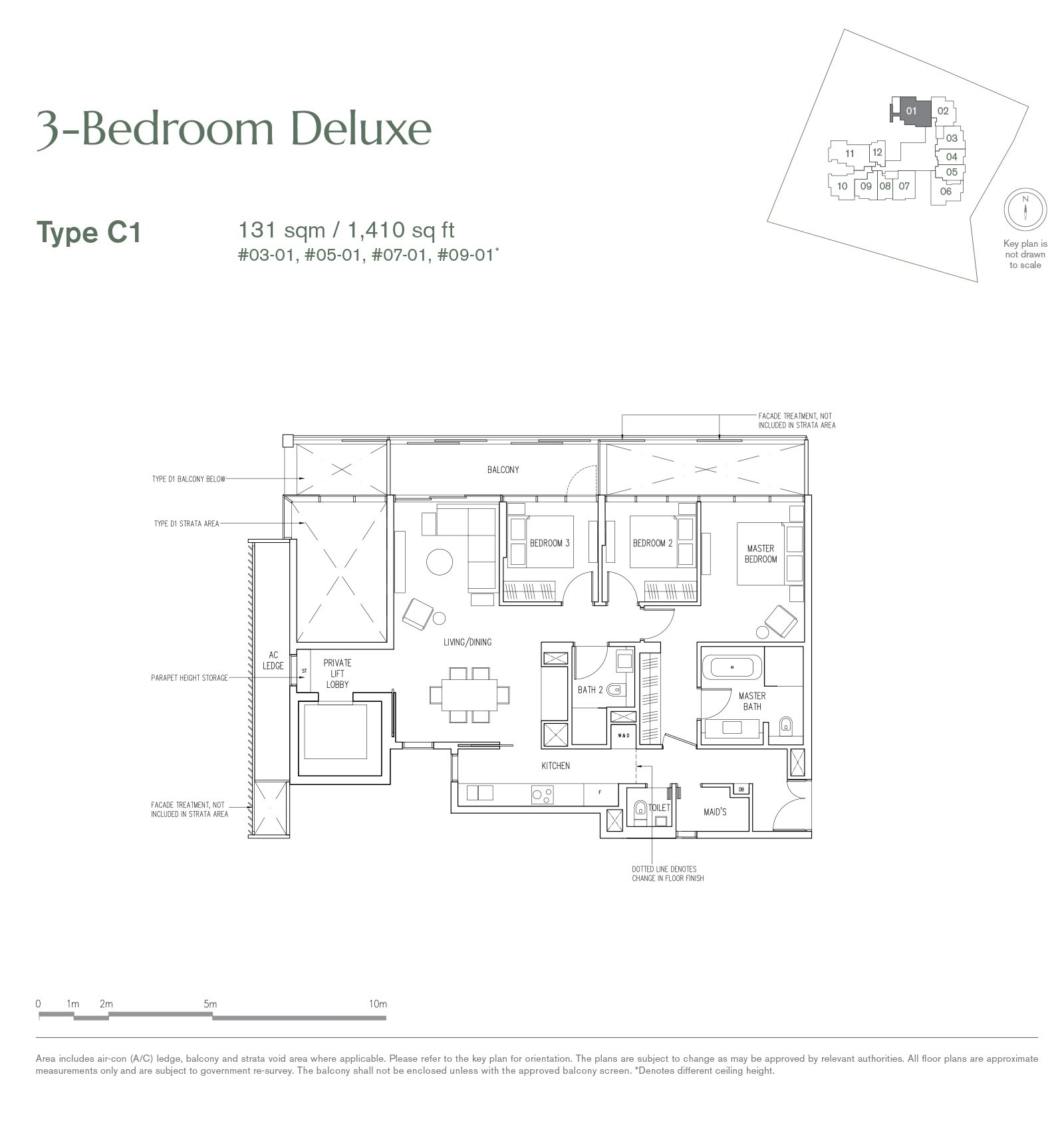 19 Nassim 纳森山公寓 floor plan 3-bedroom-C1