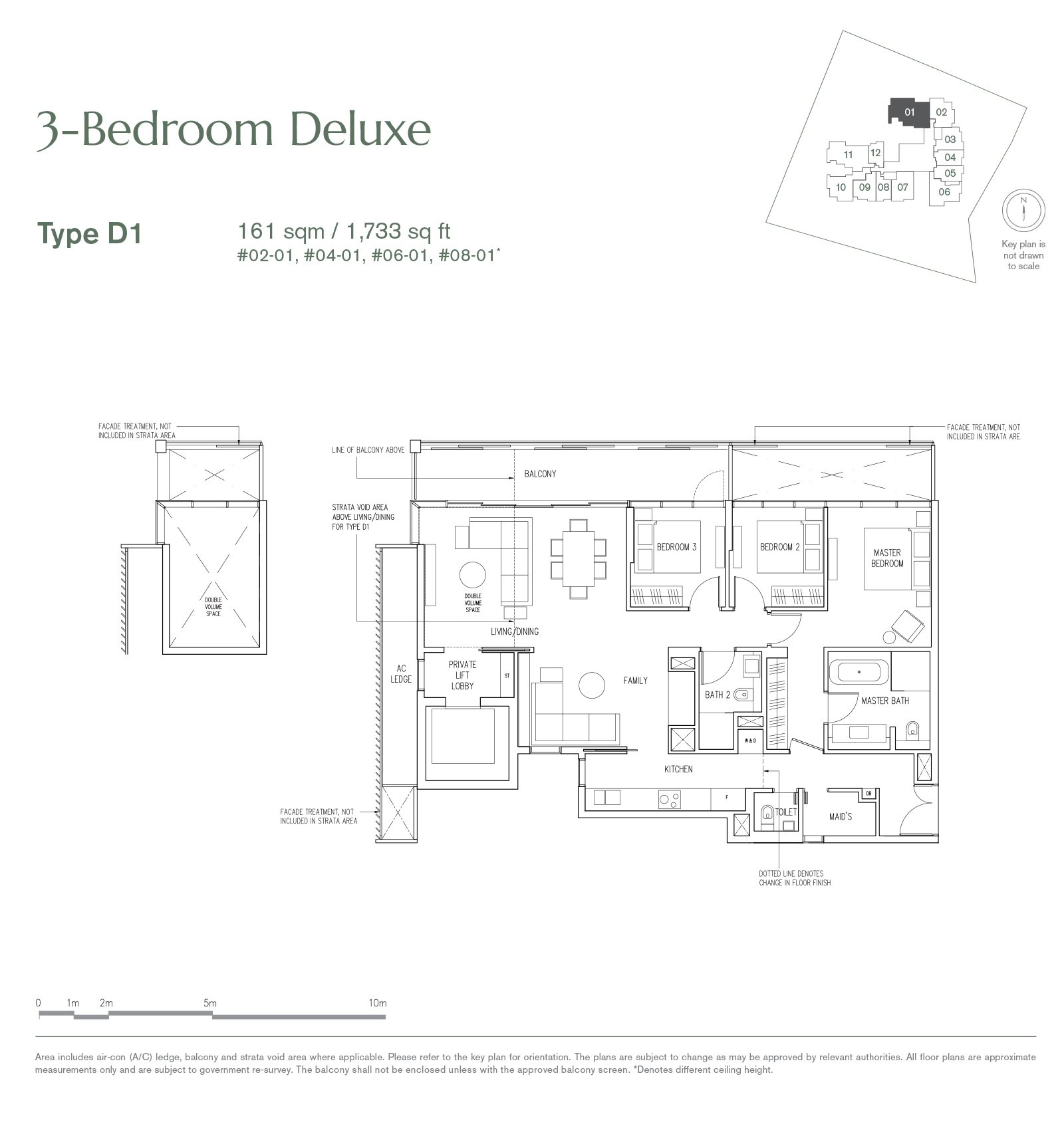 19 Nassim 纳森山公寓 floor plan 3-bedroom-D1