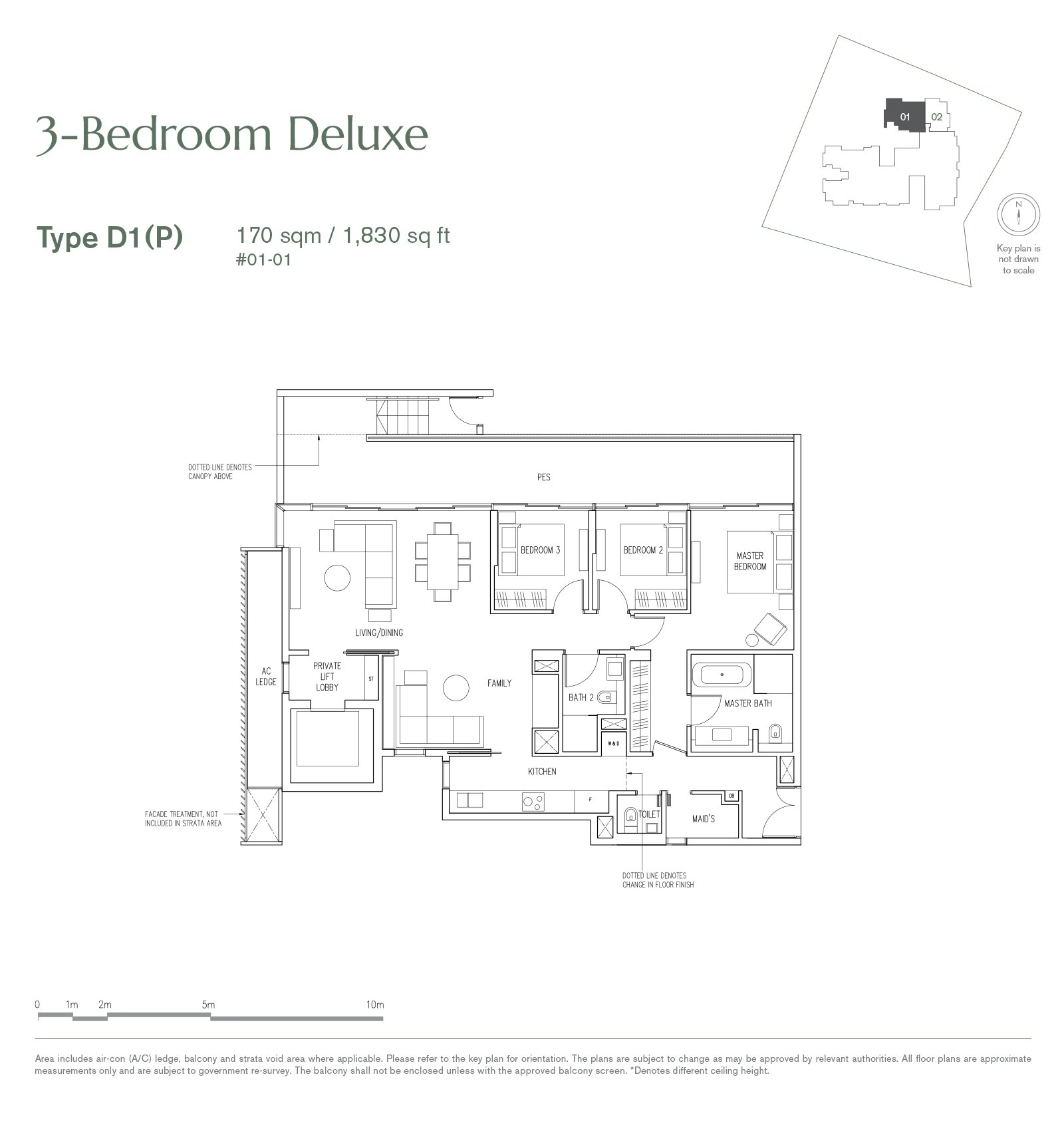19 Nassim 纳森山公寓 floor plan 3-bedroom-D1P