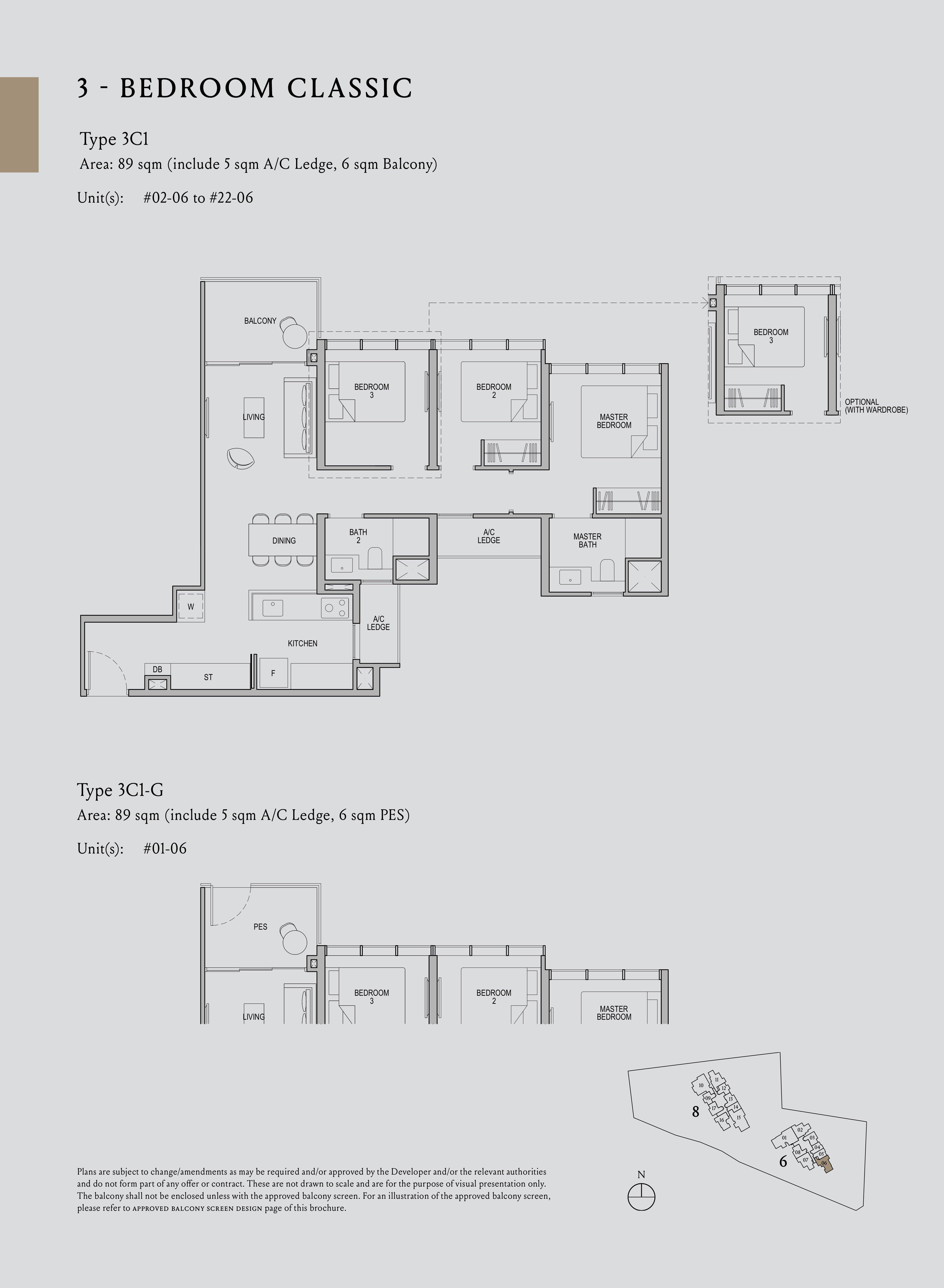 Kopar At Newton 纽顿铜源 3-bedroom classic 3C1 floor plan