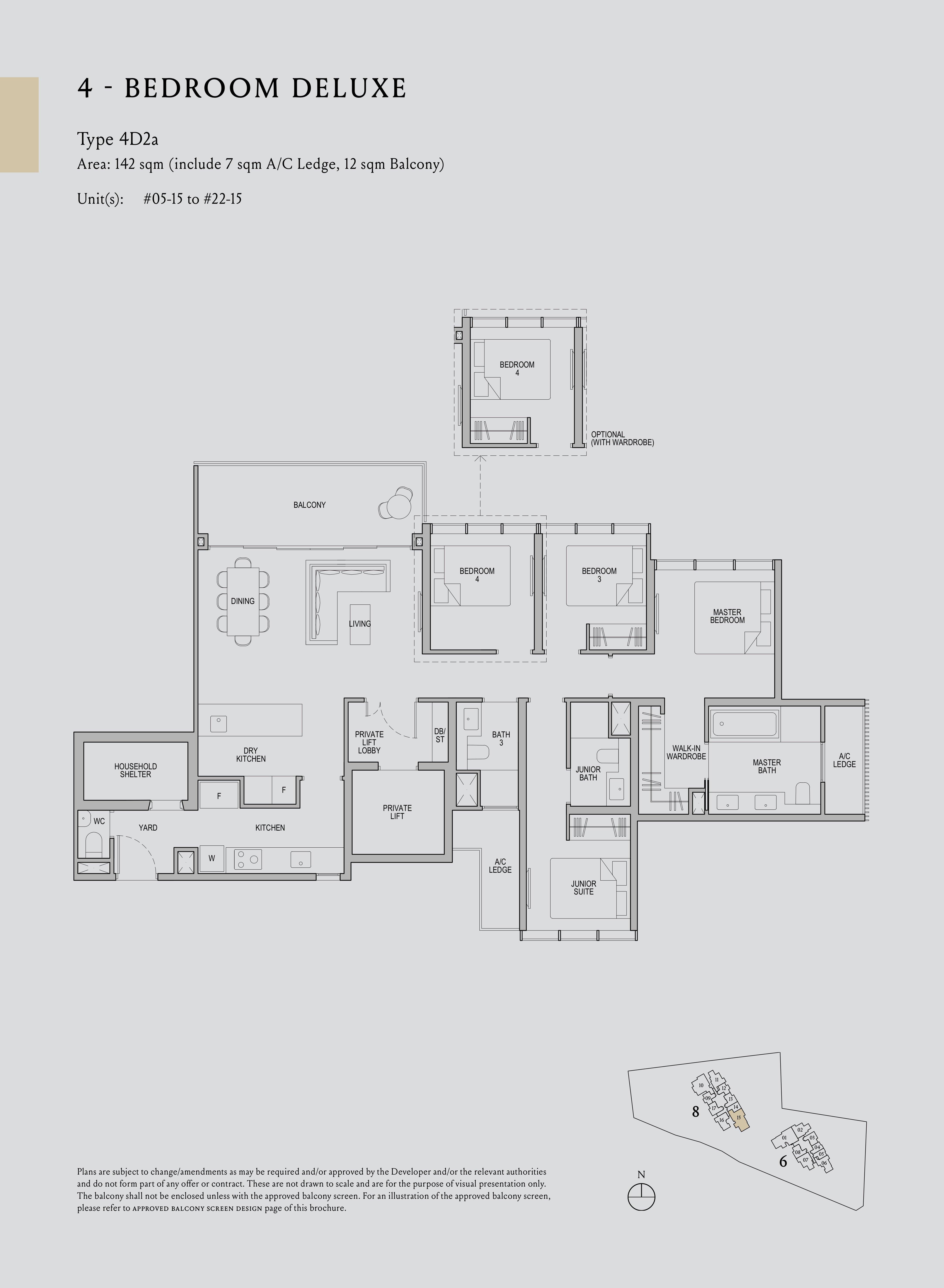 Kopar At Newton 纽顿铜源 4-bedroom deluxe 4D2a floor plan