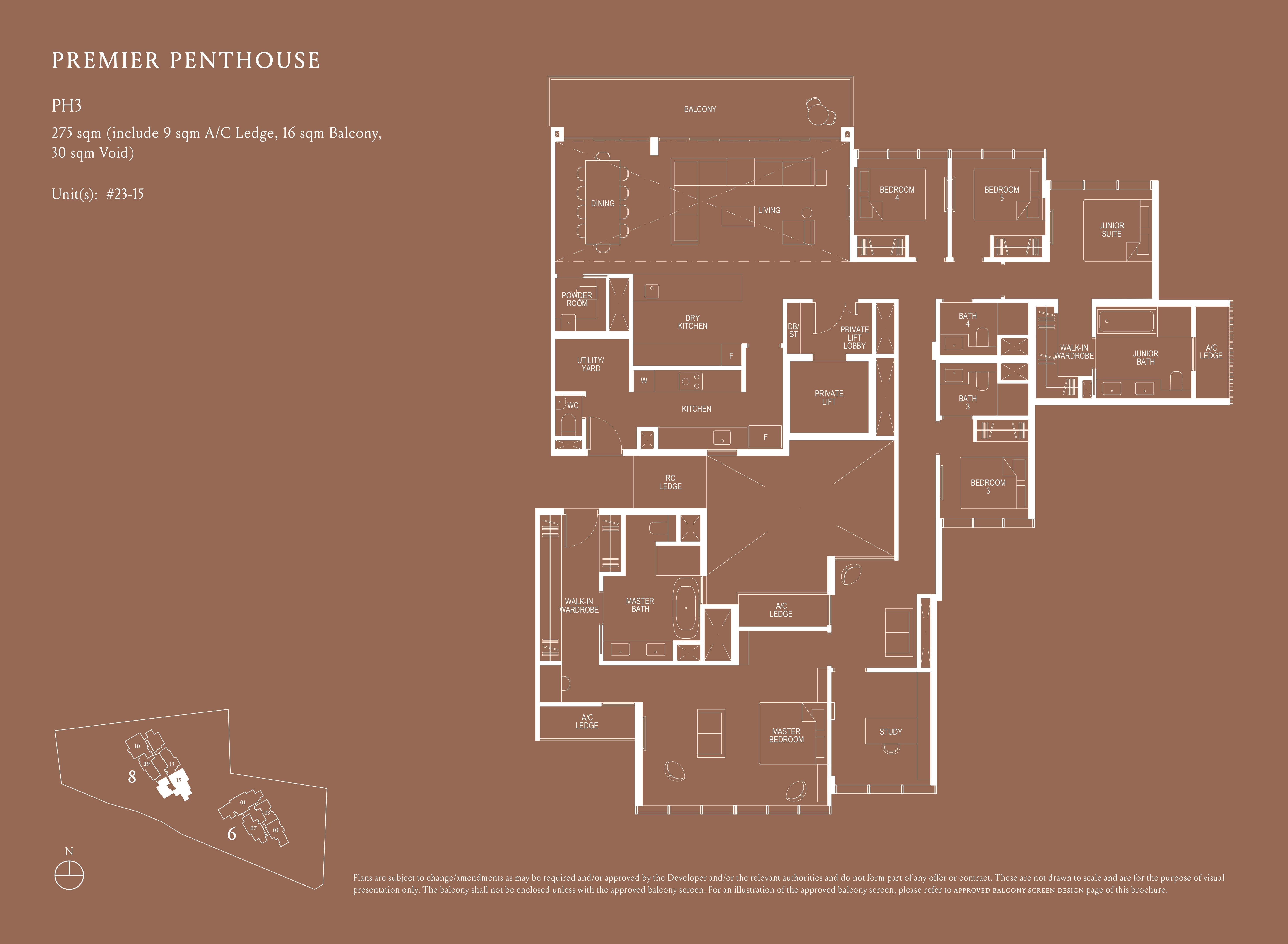 Kopar At Newton 纽顿铜源 premier penthouse 275 sqm PH3 floor plan